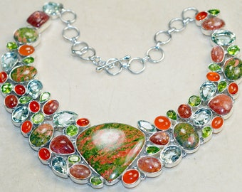 Amazing All Natural Unakite with Carnelian, Peridot, Green amethyst, Sunstone   Set in 925 Solid Sterling Silver
