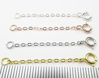 5PCS 3.8CM/5.8CM 925 Sterling Silver Extender Chain,EXTENDER Chain With Spring Clasp,Gold Necklace Extender,Chain Extension,Extender Chain