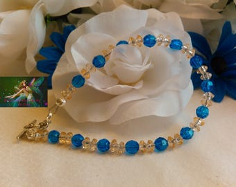 Royal Blue & Tan Faceted Acrylic Beads W/ Silver Tone Bracelet Clasp Bracelet/Handmade/8' Inches/Women/Teen Girl/Statement/Elegant/BWC#03