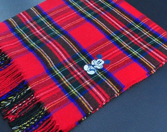 """Mickey Mouse Scarf Plaid Pattern Multicolor Wool Scarf 50"""" X 12"""""""