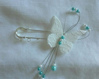 train clip Pearl White / turquoise Butterfly linen and lace wedding, wedding dress, evening