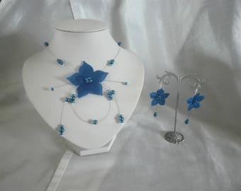 Bridal wedding jewelry necklace and earrings set parure earrings blue silk flower dark Pearl bridesmaid jewelry