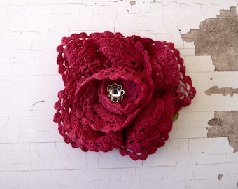 Maroon flower brooch made from hand dyed crochet, repurposed
