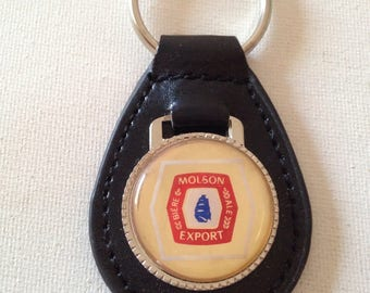 Molson Canadian Export Keychain Black Leather Beer Key Chain