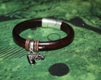 Regaliz Leather Bracelet w/Silicone Bands, some Bobbles and Silver Magnetic Connector