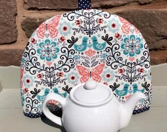 Tea Cosy, tea cozy, teacosies, teacozies, teacosy, teacozy, fabric tea cosy, fabric tea cozy, fabric folksy with birds, butterflies flowers