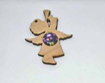 Angel made of cedar and Cabochon star tree decoration