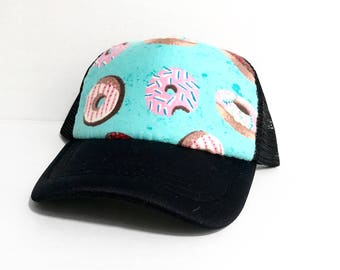 Donuts on turquoise