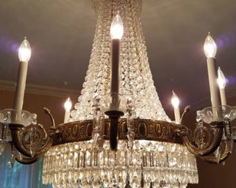 Vintage French Empire Basket Tent Crystal Directoire Chandelier Beaded 11 lights