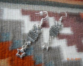 Whimsical Silver-tone Star/Owl Dangle Earrings