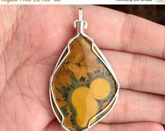 SALE Kambaby ocean jasper pendant, Wire wrapped pendant, Sterling silver, Ocean jasper jewelry, Ocean jasper necklace