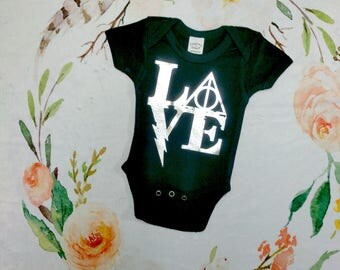 """Harry Potter Baby Deathly Hallows """"LOVE""""  Bodysuit or T-shirt, Harry Potter Baby Shower Gift, Baby Boys clothing, Baby Girl Clothing, Unisex"""