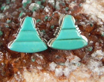 Vintage Bell Shaped Sterling and Turquoise Post Back Earrings