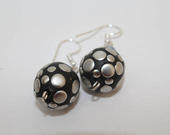 Black and Silver Ball Earrings, Drop, Dangle, Round,Evening Wear, Casual, Gift,