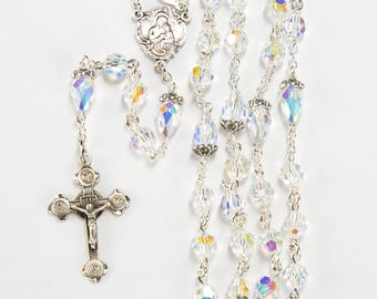 Aurora Borealis Swarovski Crystal First Communion Rosary - Gift for Girls - Delicate Crucifix, Marcasite Silver - Custom, Heirloom Rosaries
