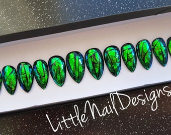 Hand Painted Broken Glass Green on Black Holographic False nails | Little Nail Designs