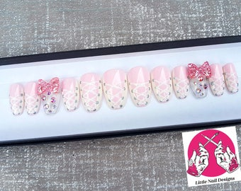 Corset | Lace up Hand Painted Pink And White False Nails | Ballet | Swarovski | Kawaii | Ballerina | Little Nail Designs