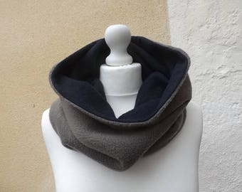 Snood wide collar Reversible fabric with wool fleece and Navy Blue taupe soft and warm