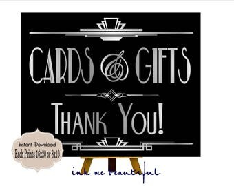PRINTABLE Cards and Gifts Sign,Gatsby party decoration, Roaring 20s Art deco,Wedding Sign, Wedding Decor, Gatsby Quote, Gatsby Collection,