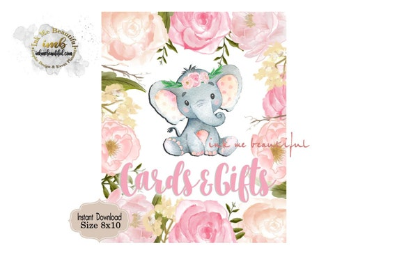 Cards And Gifts Sign 8x10 Baby Shower Birthday Party Blush Pink