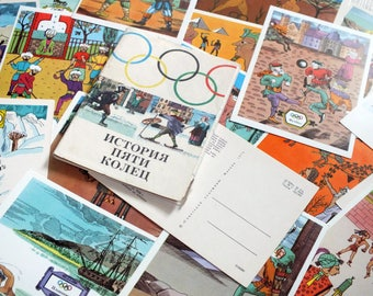 History of olympics postcards - Olympic postcard set - Vintage sport postcard set - Olympic games postcards - Vintage art postcards