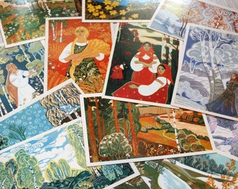 Four seasons art postcard set - Folk art postcards - Russian art print set - Russian folk art prints - Soviet vintage nature art postcards