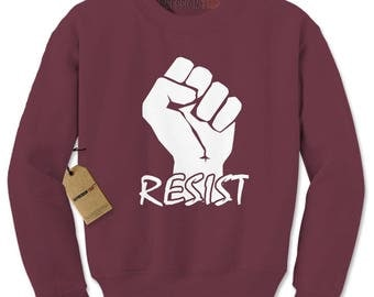 Resist Raised Fist Protest Adult Crewneck Sweatshirt