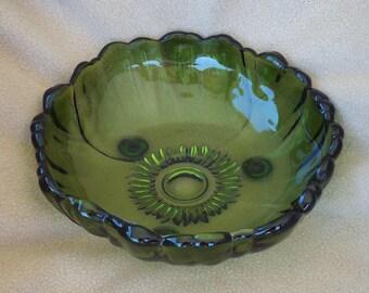 Vintage Green Glass Serving Dish; Glass Bowl