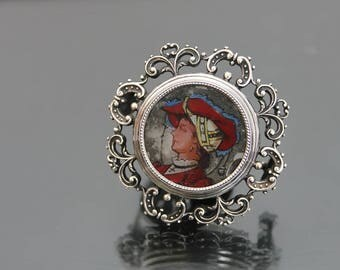 Victorian Locket MARKOWITSCH And SCHEID. 750 Silver Brooch. MUSEAL Hand Painted Renaissance Revival Antique Austro Hungarian.