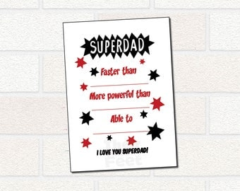 Dad Superhero Printable Gift - Father's Day Printable Card - SUPERDAD card for dad's birthday, father's day - all about dad from child