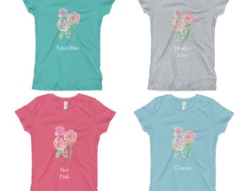 Shirts for Girls - Girls Long T-Shirt, Pink T shirt, Girls Size 7, short sleeve, Leggings outfit, girls outfit size 6, girls outfit size 8,