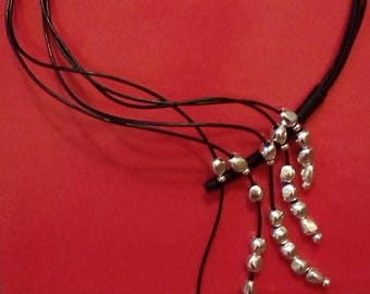One of 50 style necklace adjustable leather swarovski pearls, silver plated