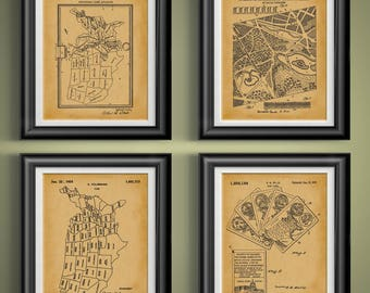 US History Teaching Patents United States of America Artwork History Classroom Posters U.S. History Class Wall Art USA Art Set of 4 PP 9403
