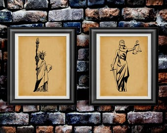 America's First Superhero's Lady Liberty Poster Lady Justice Art Female Political Activist Artwork Gift for Activist Lawyer Set of 2 PP 9221