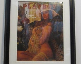 Vintage Playboy Magazine Cover Matted Framed : June 1973 - Marilyn Cole