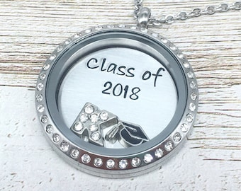 Class of 2018, Graduation Necklace, Floating Locket, High School Grad Gift, Daughter, Sister, Granddaughter, Personalized Jewelry, College