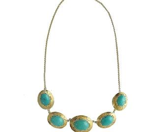 Vintage 14K Gold Turquoise Link Necklace