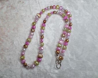 Short Pearl Necklace silver and freshwater pearls of multicolor, carabiner, hand-made