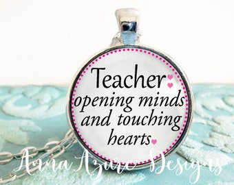 Teacher Opening Minds Touching Hearts Glass Dome Necklace Gift for Teacher Appreciation Gift Mentor Gift Teacher Aide Gift Bronze Keychain