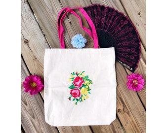 Vintage Rose Embroidered Tote Bag
