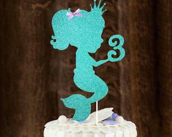 Mermaid Cake topper, little mermaid, baby mermaid, under the sea