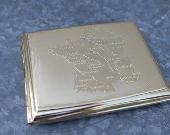 Vintage 60s Map of France metal cigarette case