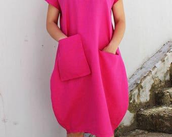 Linen dress, linen overalls, linen, linen tunic, plus size linen, black linen dress, linen womens clothing, summer linen dress /D0035