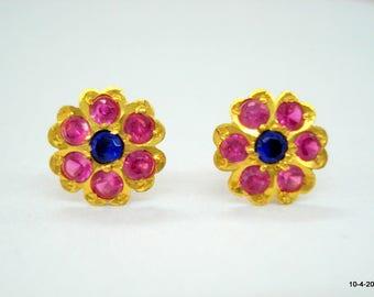 18kt gold earrings gold ear stud handmade gold jewellery