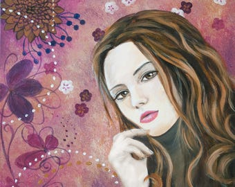 SALE acrylic painting woman and flowers nature pop - SPECIAL OFFER painting woman pop flowers and nature