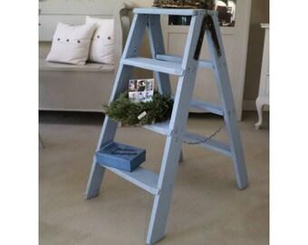 Vintage Ladder, Folding ladder, Deco, Wood, 3 rungs, light blue