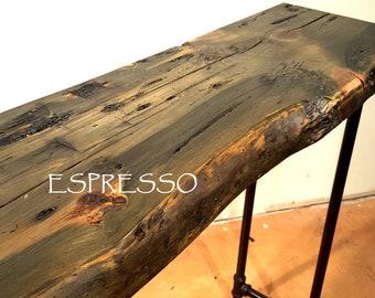 Long Sofa Table, Dark Wood Table, Console Table, Entry Hall Table, Farmhouse Table, natural edge table, reclaimed wood table