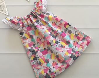 Girls Dress, Flutter Sleeve Size 0, rainbow, boho, baby gift, new baby, baby dress, summer dress, party dress, ready to shi