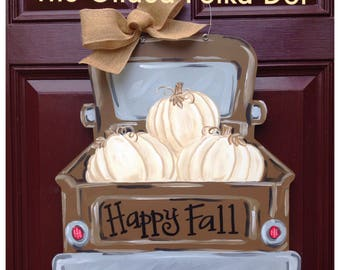 Fall door hanger, fall truck door hanger, pumpkin door hanger, Fall wreath