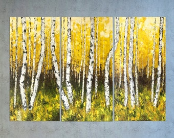 Birch Tree Painting, Oil on canvas, Textured painting, Birch art, Fall Painting, Impasto art, Palette knife, Aspen art, Large abstract art